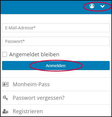 Abbildung des Registrieren Menus